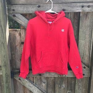 Vintage champion red hooded sweatshirt size large